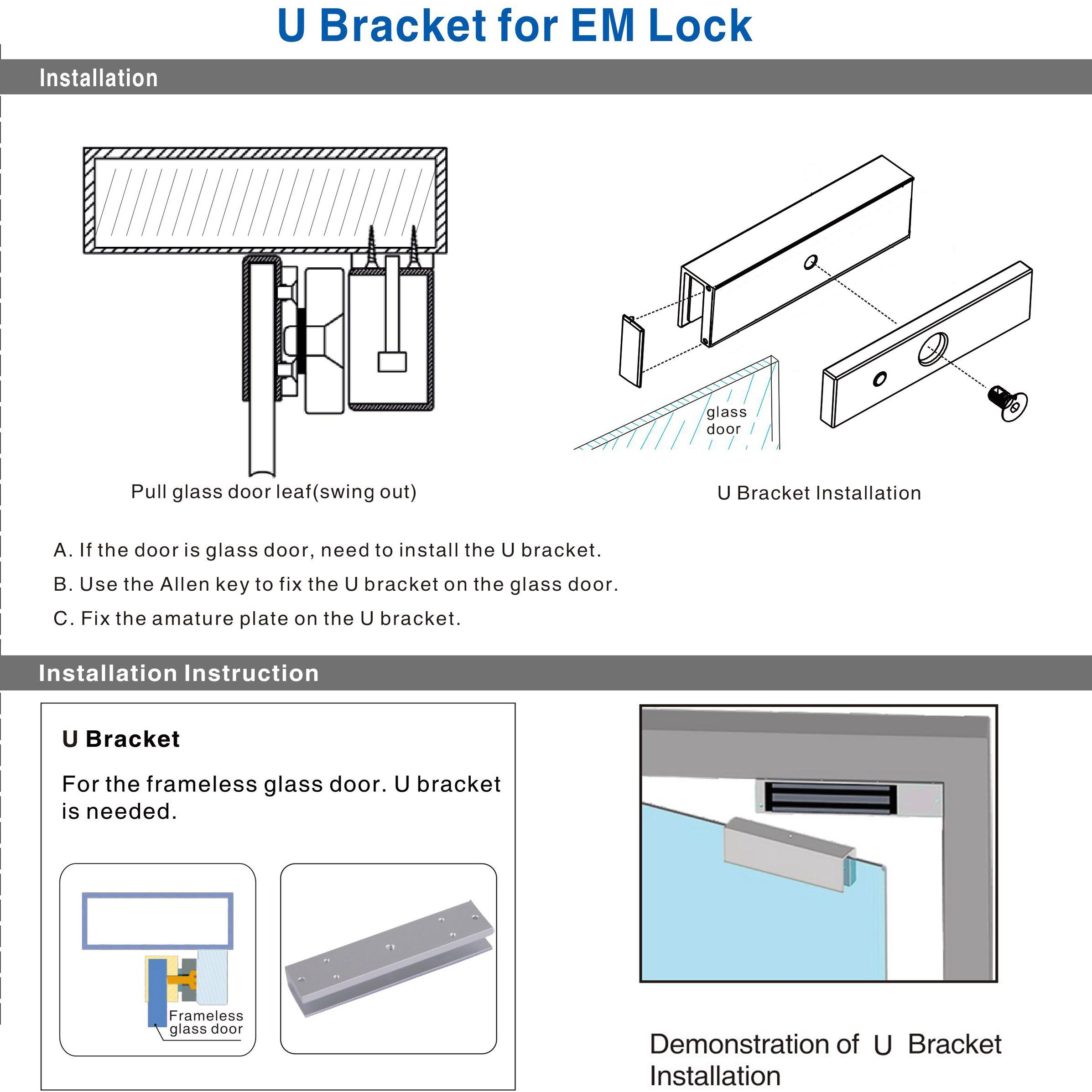 UHPPOTE Aluminum Alloy U-Shape Bracket For 600lbs Magnetic Lock by UHPPOTE (Image #3)