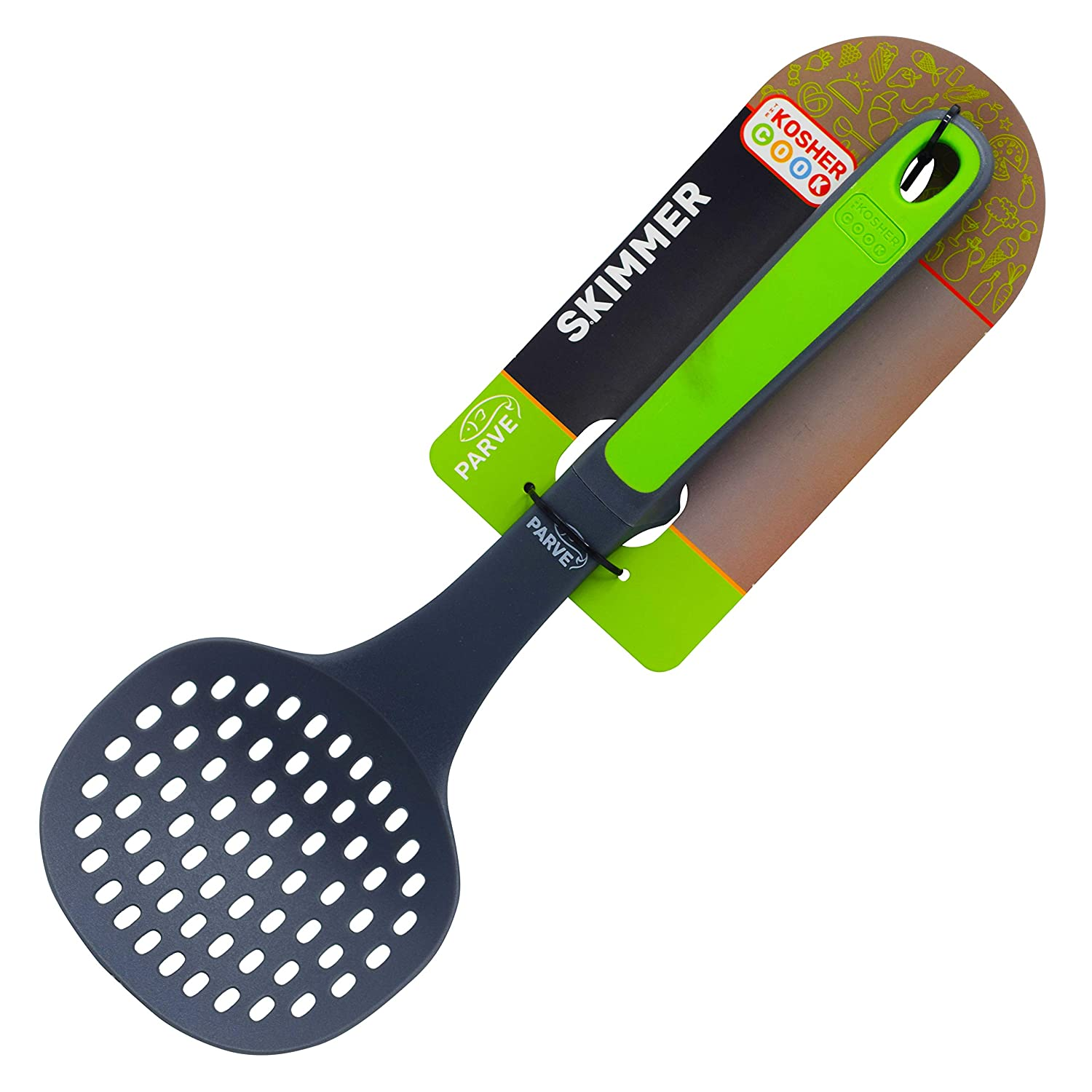 Dairy Blue Slotted Skimmer Spoon Color Coded Home and Kitchen Accessories by The Kosher Cook Gravy and Hot and Cold Foods Comfortable Handle Non Stick Silicone Stews Strainer For Soups