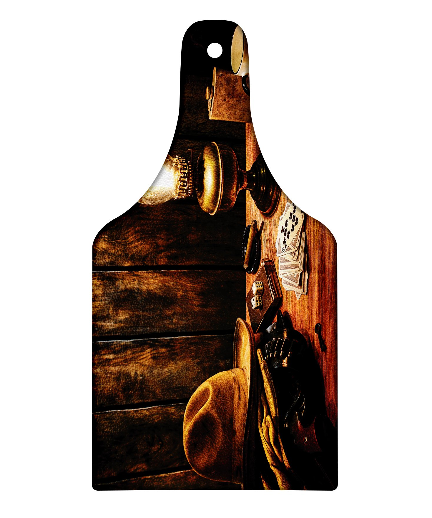 Lunarable Western Cutting Board, Mystic Night in Hotel Room Dallas with Lantern Nightstand Table and Poker Card Design, Decorative Tempered Glass Cutting and Serving Board, Wine Bottle Shape, Brown