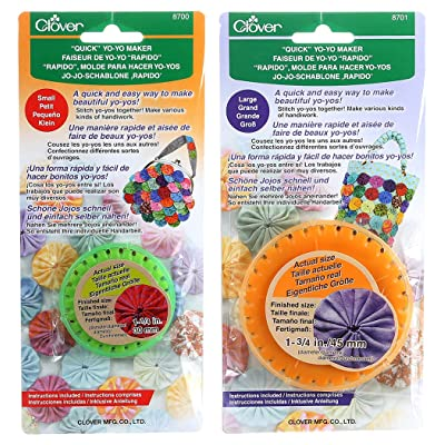 "Bundle of Two (2) Quick Yo-Yo Makers: Small (makes 1.25"" yo-yos) and Large (makes 1.75"" yo-yos): Arts, Crafts & Sewing"