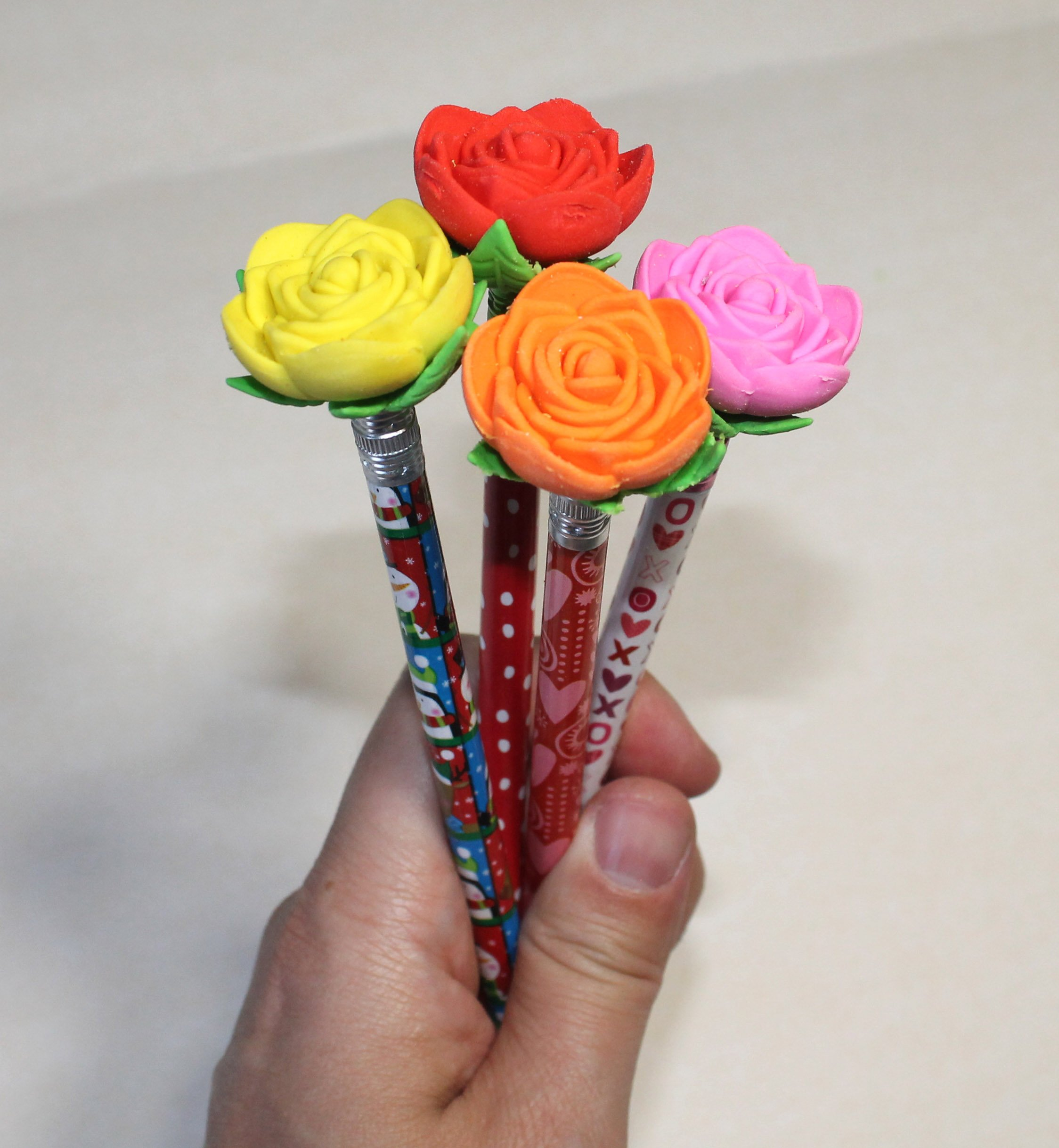 Lucore Rose Pencil Top Erasers - 16 pcs Colorful Flower Shaped Kids Pen Cap Toppers by Lucore Home (Image #4)