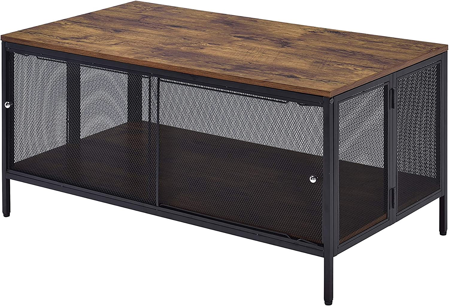 ACME Winam Coffee Table - - Antique Oak & Black