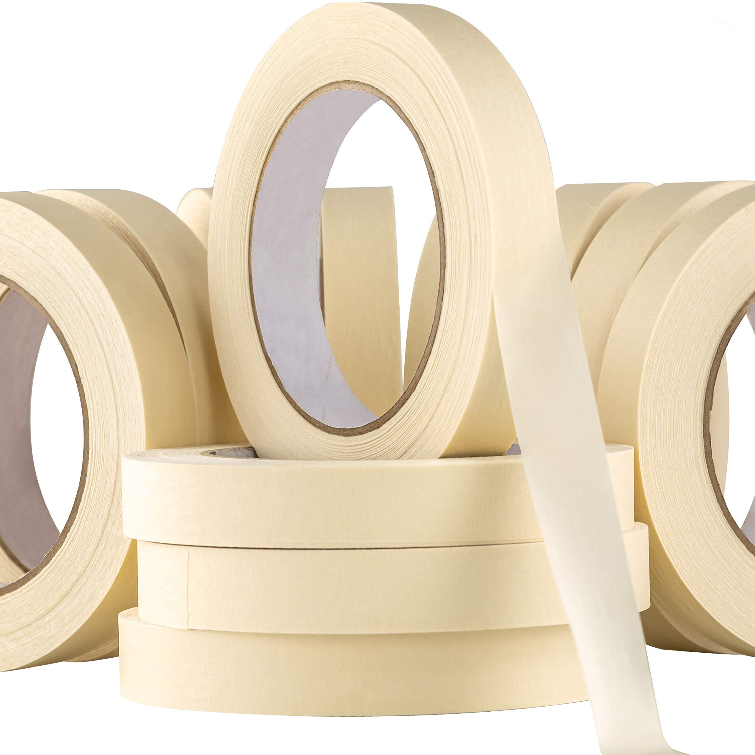 Nova Supply 3/4 in Pro-Grade Masking Tape. Single - 36 Rolls = Yards of Multi-Use, Easy Tear Tape. Great for Labeling, Painting, Packing and More. Adhesive Leaves No Residue. (36)