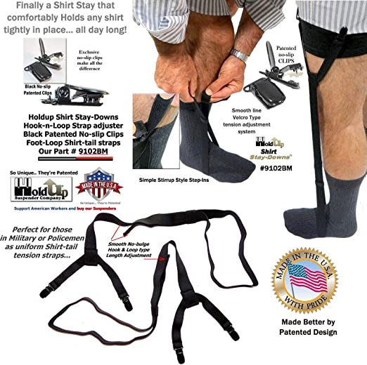 1 Pair Men/'s Shirt Stays Holders Elastic Garter Belt Suspender Locking Clamps NE
