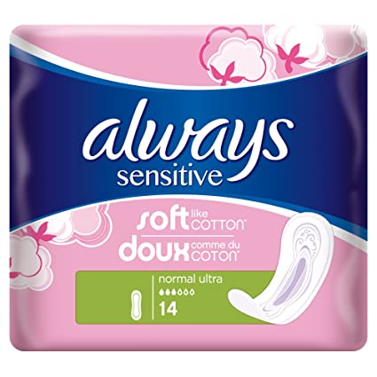 Always Sensitive Pack de 14 toallas femeninas normal – Pack de 3.