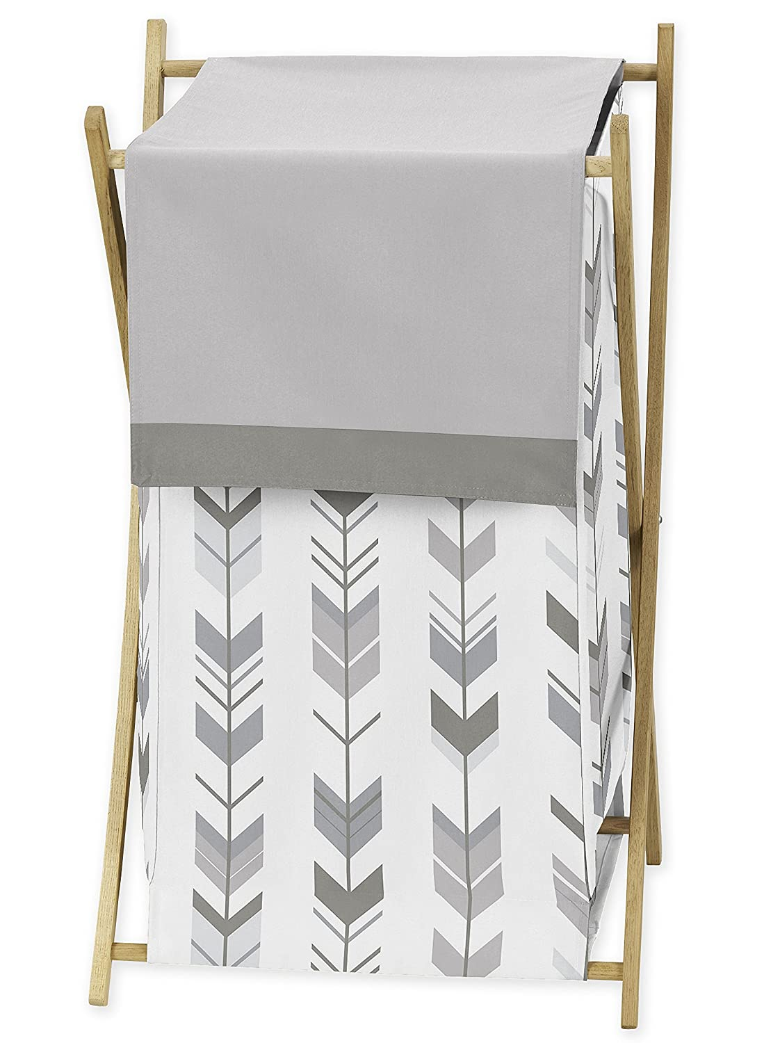 Sweet Jojo Designs Grey and White Baby Kid Clothes Laundry Hamper for Woodland Arrow Collection by