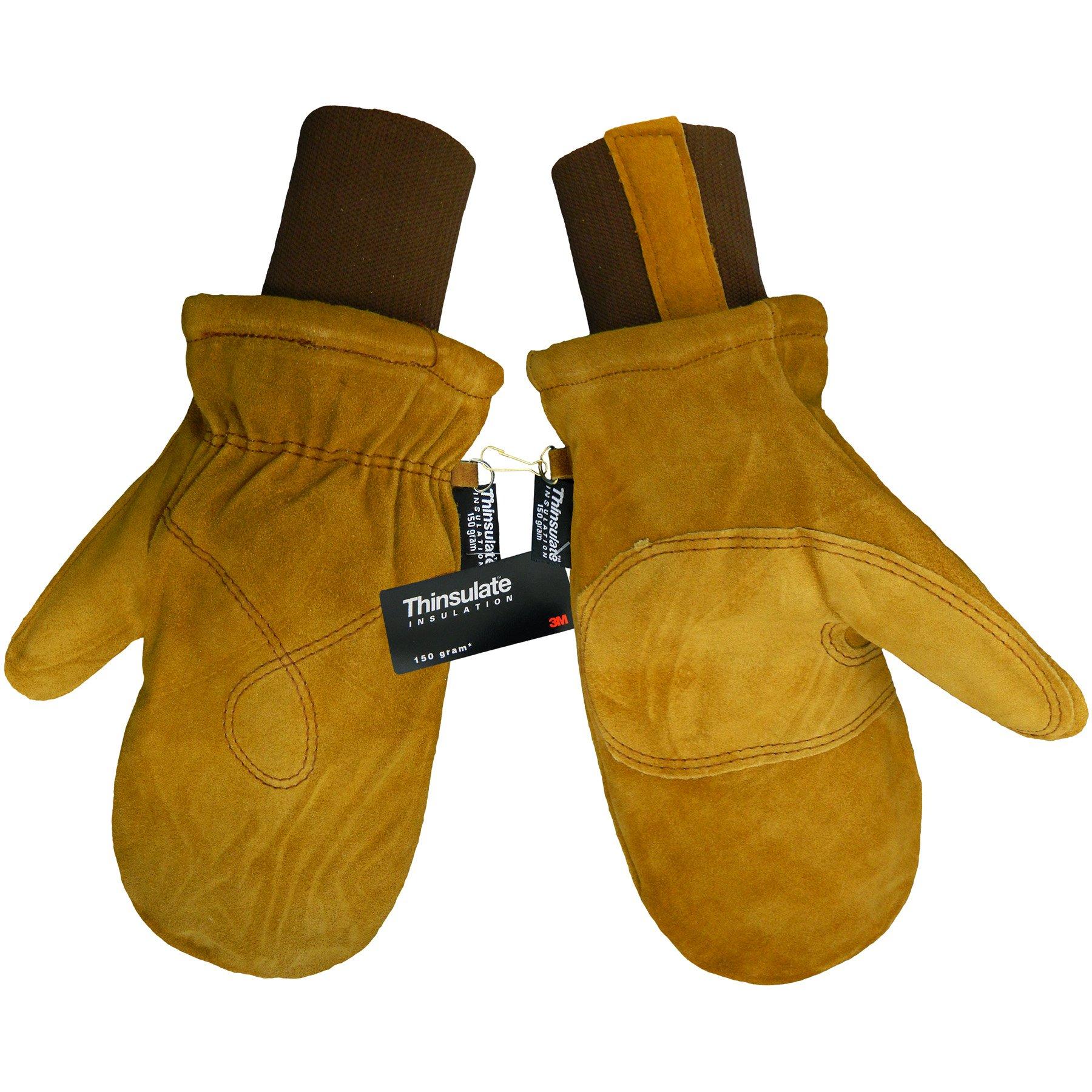 Global Glove 594MIT Russet Cow Split Premium Grade Freezer Mitten with Knit Wrist Cuff, Extra Large (Case of 144)