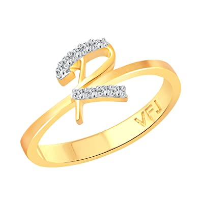 Buy Vighnaharta initial R Letter CZ Gold and Rhodium Plated