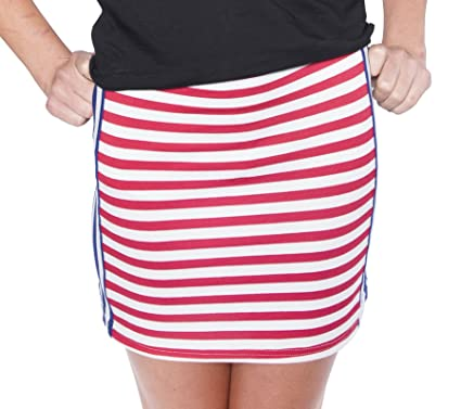 Women's Red, White & Blue Striped Patriotic Skirt at Amazon ...