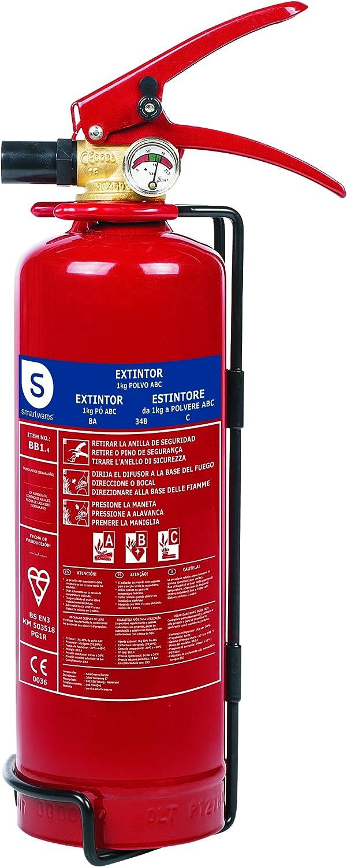 Smartwares Extintor de Polvo Seco, 1 KG, Resistencia al Fuego ABC