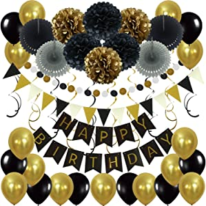 Zerodeco Birthday Decoration Set, Happy Birthday Banner Bunting with 4 Paper Fans Tissue 6 Paper Pom Poms Flowers 10 Hanging Swirls and 20 Balloons for Birthday Party Decorations - Black and Gold