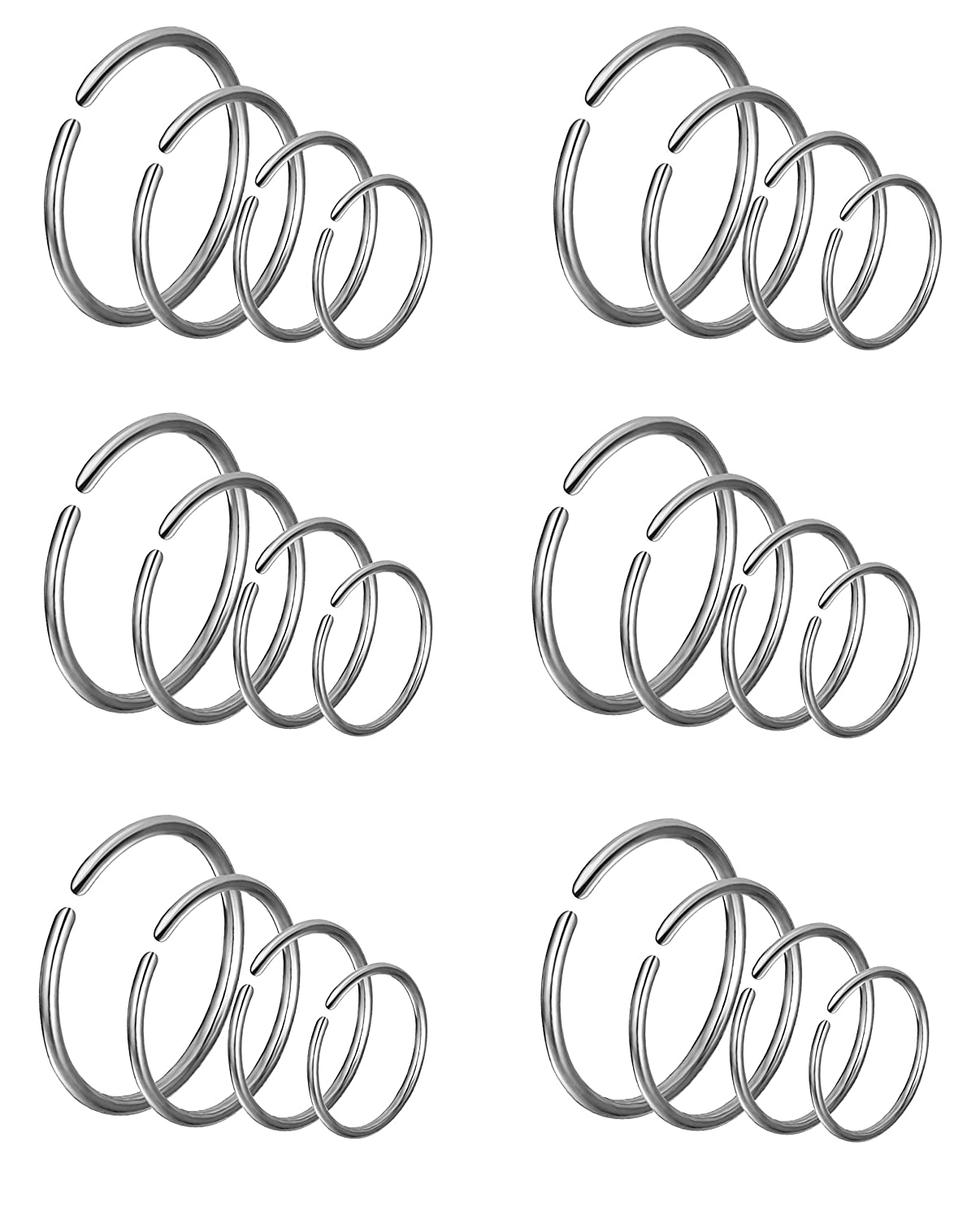 Ofeiyaa 24Pcs 18G 20G 22G Stainless Steel Nose Ring Hoop Cartilage Earrings Septum Ear Traguse Lip Ring Body Piercing Jewelry 6-12mm Slive Stone Afeiyaa BH-S24-06