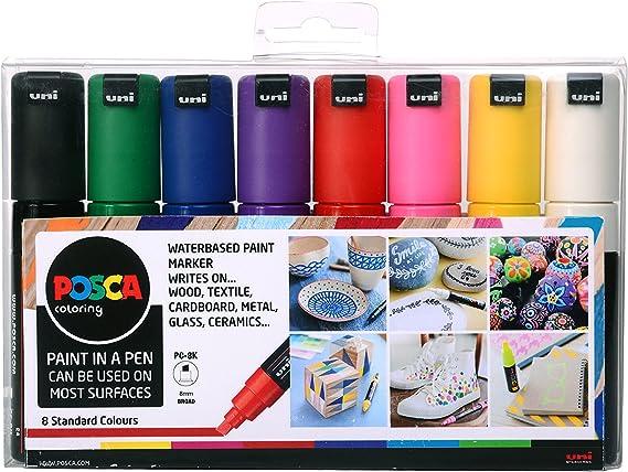 Posca 153544844 - Pack de 8 rotuladores de pintura al agua, multicolor: Amazon.es: Oficina y papelería