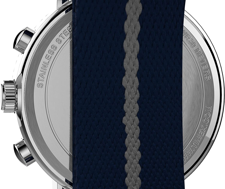 Timex Weekender Chronograph 40mm Watch Blue Fabric Slip-thru/Blue