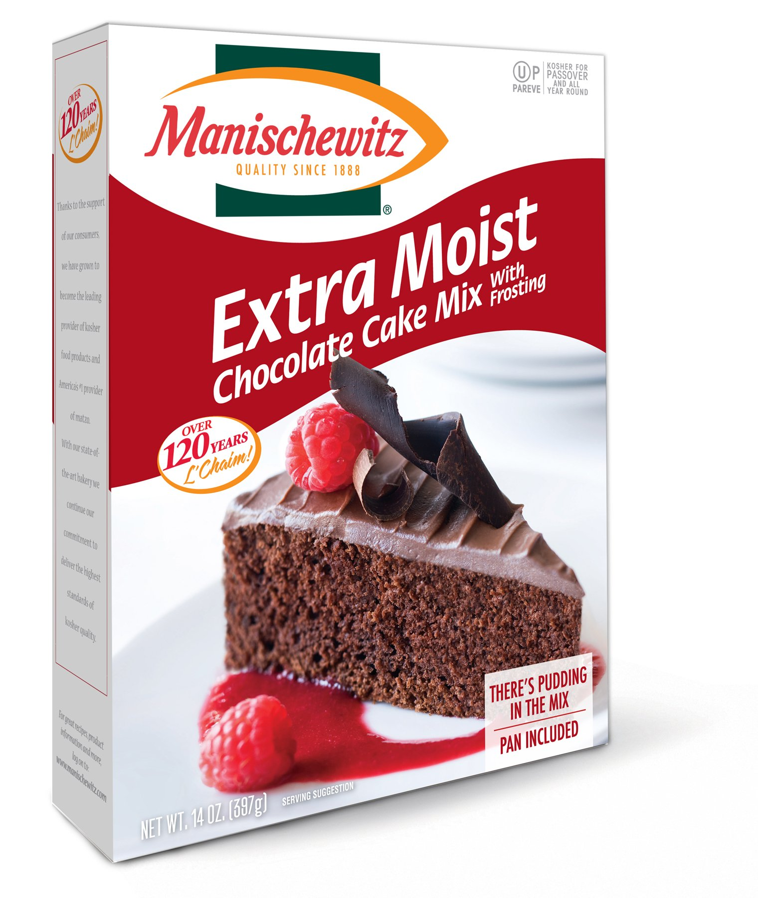 Manischewitz Extra Moist Chocolate Cake Mix With Frosting Kosher For Passover 14 oz. Pack of 1.