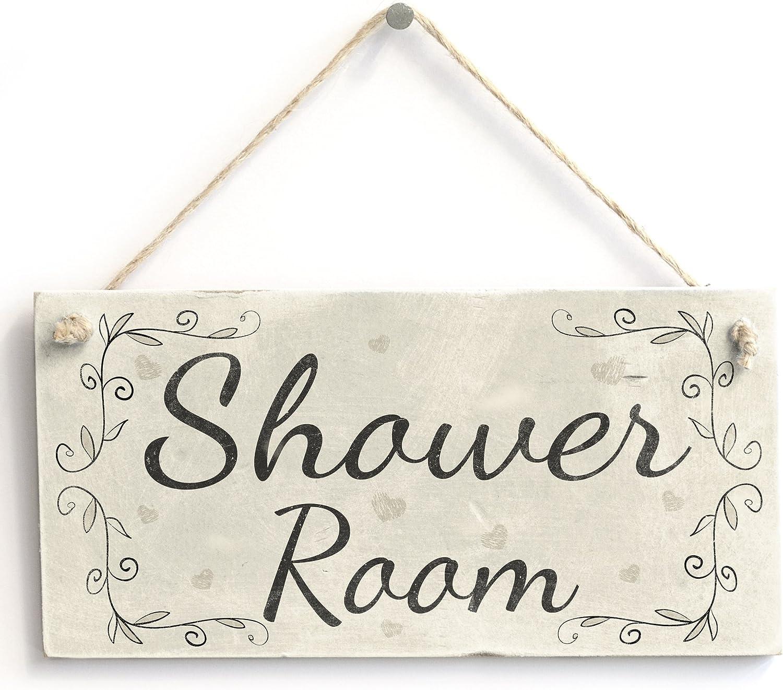 Shower Room - Handmade Vintage Home Decor Wooden Door Sign/Plaque for  Bathroom