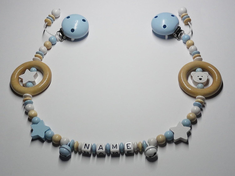 Kinderwagenkette mit Namen in Babyblau – Weiß – Natur