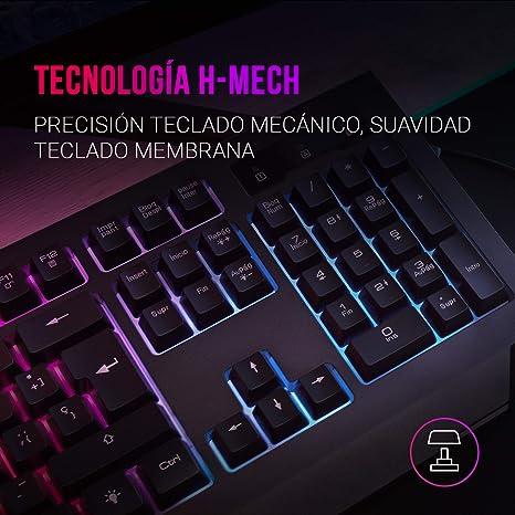 Mars Gaming MCP100PT, Combo Teclado H-Mech Y Ratón 3200DPI, Ilumin RGB, Portugués