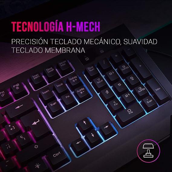 MARSGAMING Mars Gaming MCP100FR, Combo Gaming RGB Teclado H-Mech y Ratón 3200DPI, Francés