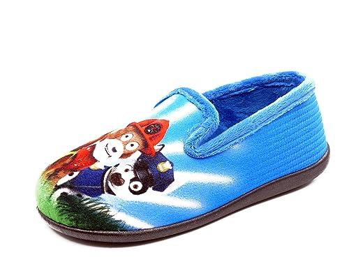 Zapatilla niño de Estar en casa SENA, paño Color azulón, Estampado Patrulla Canina -