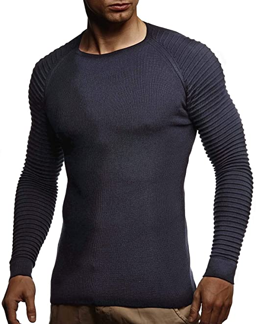 9be29a42316c1 LEIF NELSON pour des Hommes Pullover Pull en Tricot Hoodie Basic col Rond  Crew Neck Sweatshirt Manche Longue Sweater Feinstrick LN20729  Amazon.fr   ...
