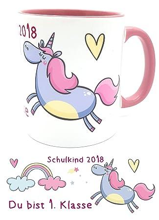 NEU Button Schulkind 2019 Einhorn, für Mädchen zur Einschulung, rosa
