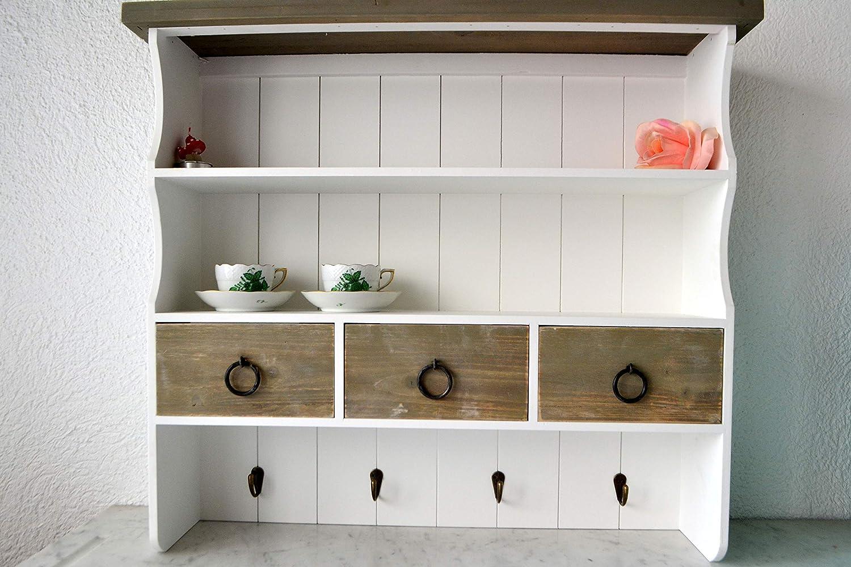 Wandschrank-Wandregal aus Holz, weiß- hübsch und stabil- mit 17 Schubladen +  17 Metallhaken- zum Aufhängen- mit 17 Ablagen -moderner Vintagesti
