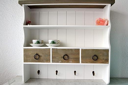 Hängeschrank-Küchenschrank- Schrank Bad Vintagestil- hübscher Schrank aus  Holz-stabile Ausführung im modernen Vintage-Shabby-Stil mit Glastüren