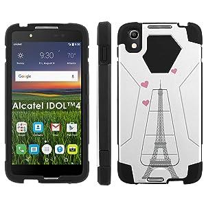 Alcatel One Touch IDOL 4 [Nitro 4/49] Phone Cover, Eiffel Tower Hearts - Black Hexo Hybrid Armor Phone Case for Alcatel One Touch IDOL 4 [Nitro 4/49]