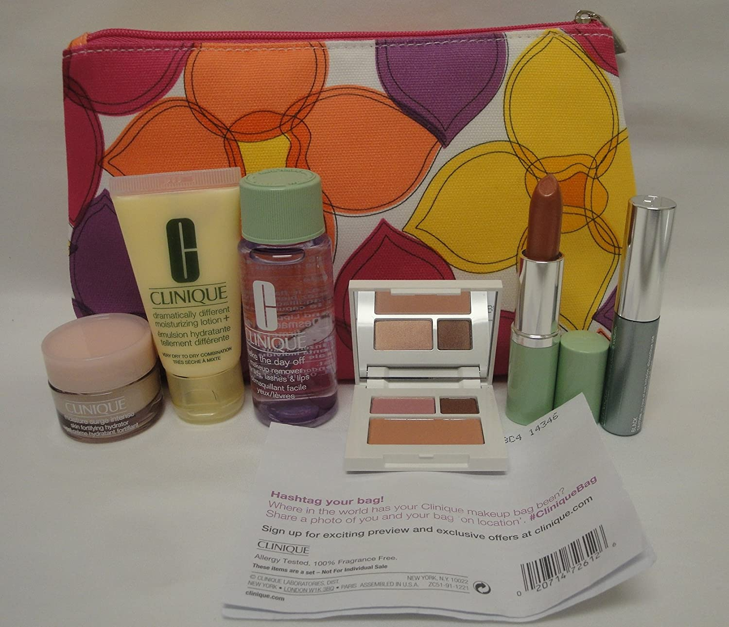 NEW Clinique Skin Care Makeup 7 Pc Gift Set Travel Size Pinks Spring 2015 Value 70