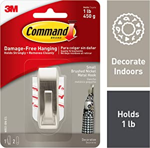 Command Small Metal Hook, Decorate Damage-Free, Holds 1 lb (MR01-BN-ES)