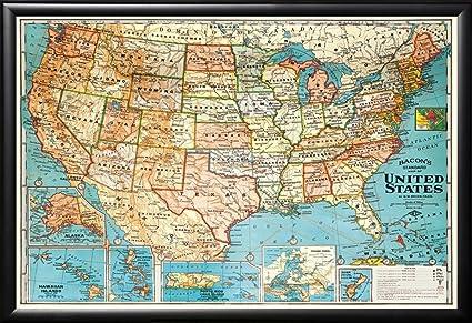 Amazoncom Framed USA United States Map Vintage Style Black Detail - United states map picture frame