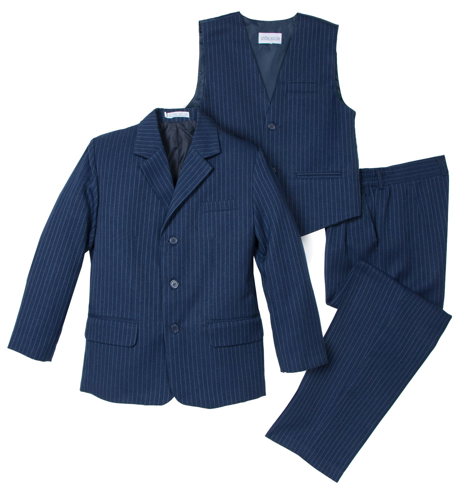 Spring Notion Big Boys' 3 Piece Pinstripe Suit Set 7 Blue