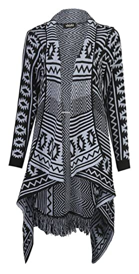 e11bf475b8d Girls Walk Womens Aztec Diamond Print Tassel Knitted Waterfall ...