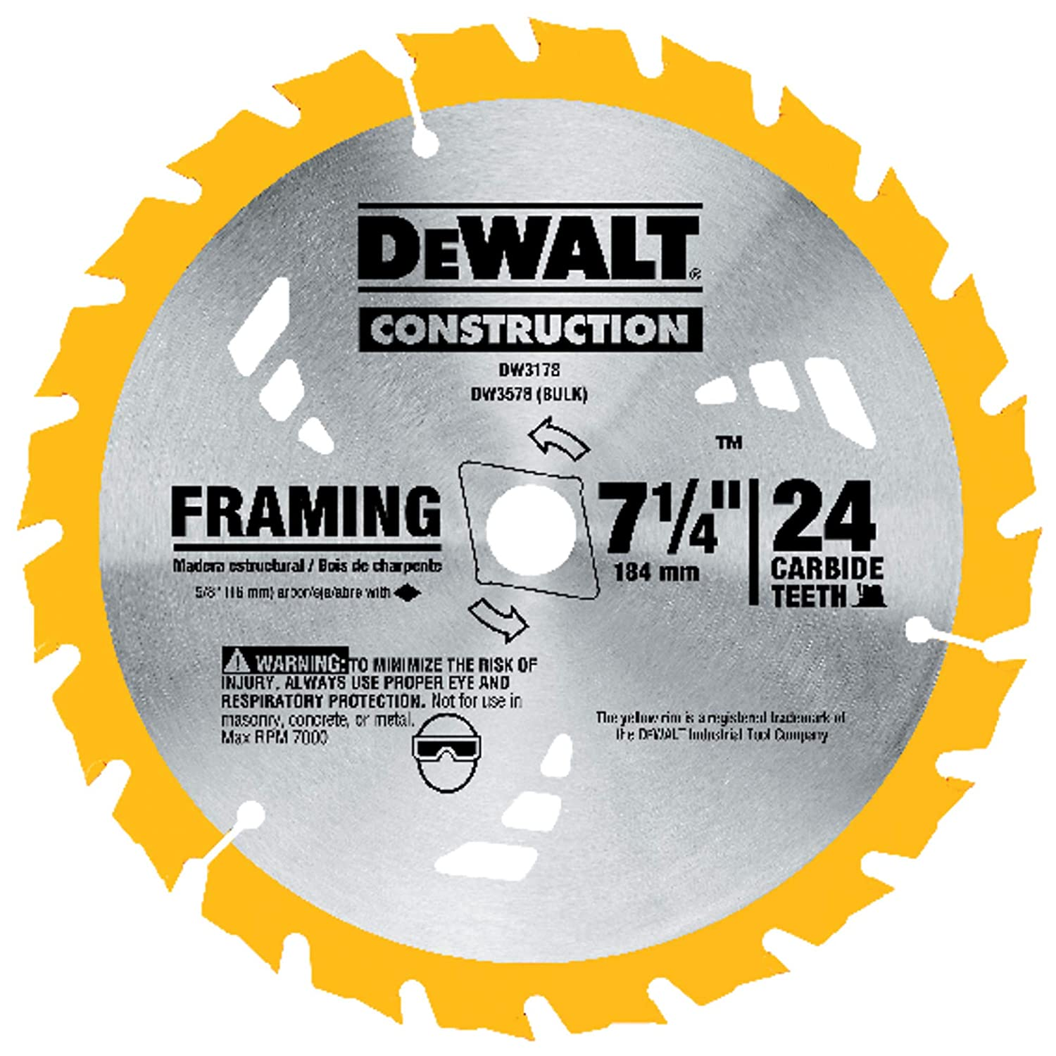 DEWALT DW3178 Series 20 7-1/4-Inch 24 Tooth ATB Thin Kerf Framing Saw Blade with 5/8-Inch and Diamond Knockout Arbor