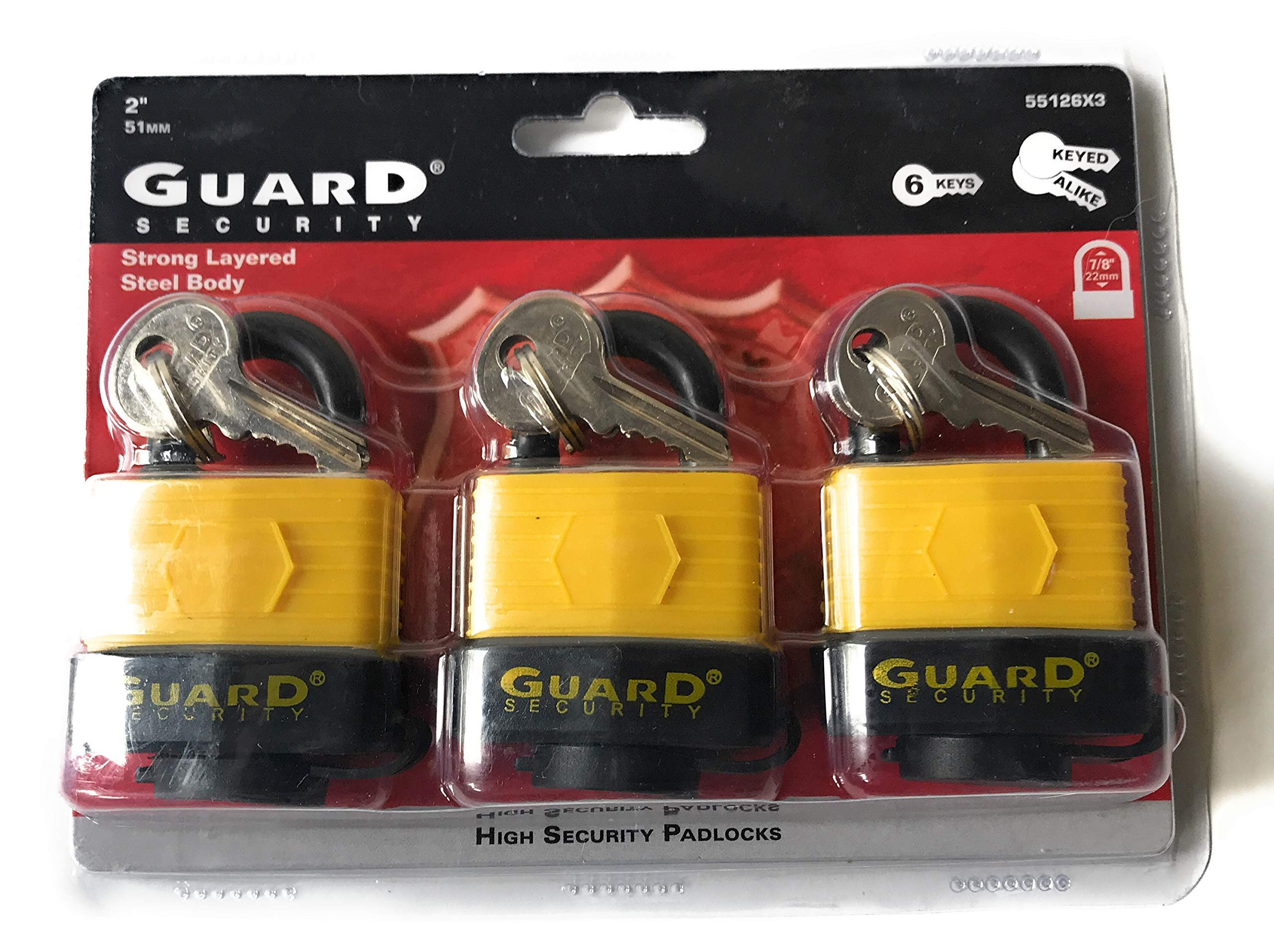 Guard Security Keyed Padlocks - Set of 3 High Security Padlocks with 6 Keyed Alike (Matching) Keys - Great Value! by Guard Security (Image #1)
