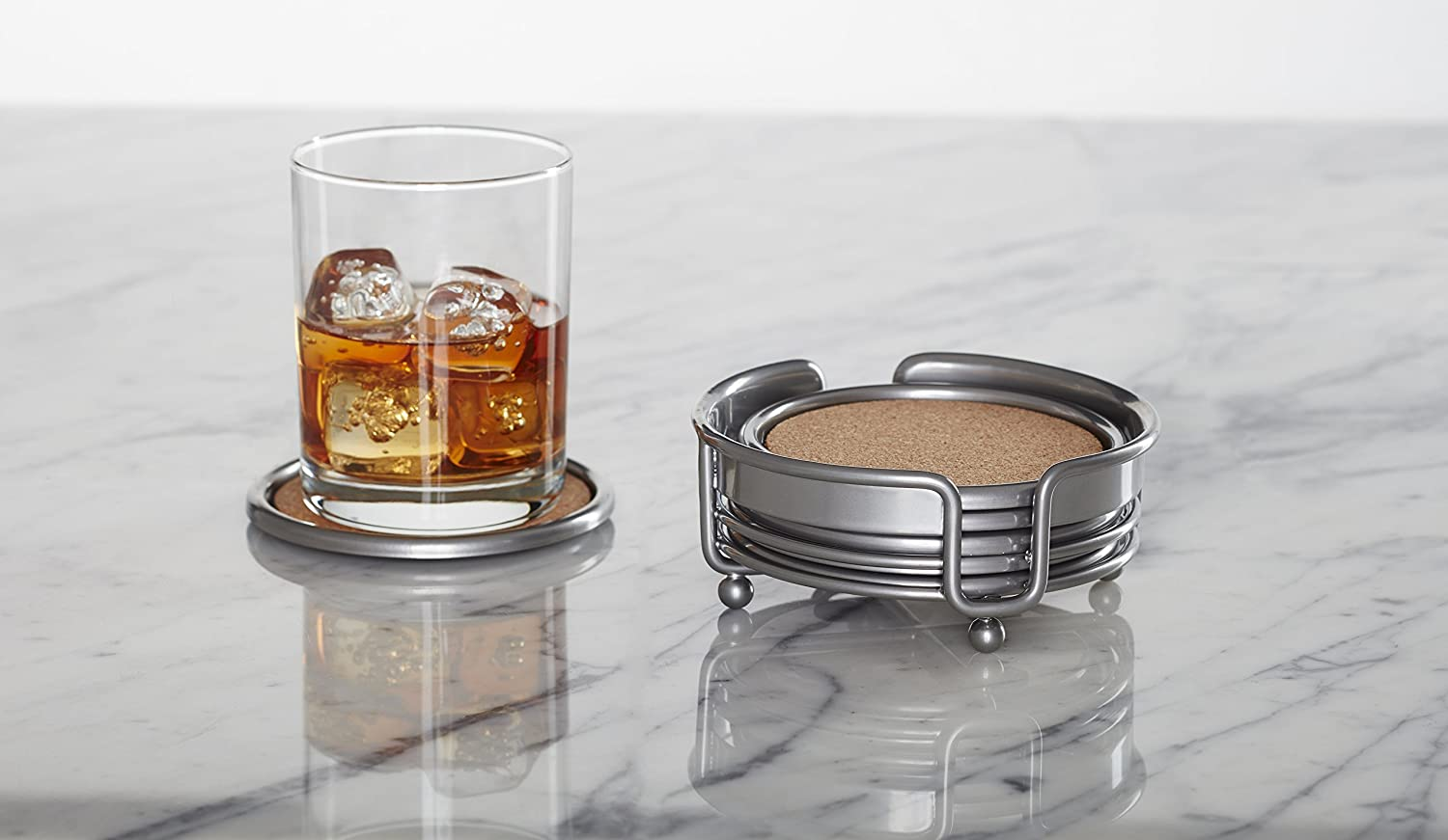 Kamenstein 7 Piece All Metal /& Cork Coaster Set Silver