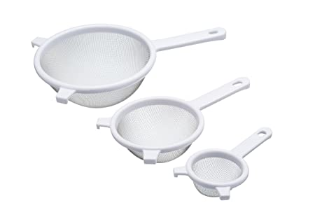 3pc plastic strainer in White large medium and small perfect kitchen tool