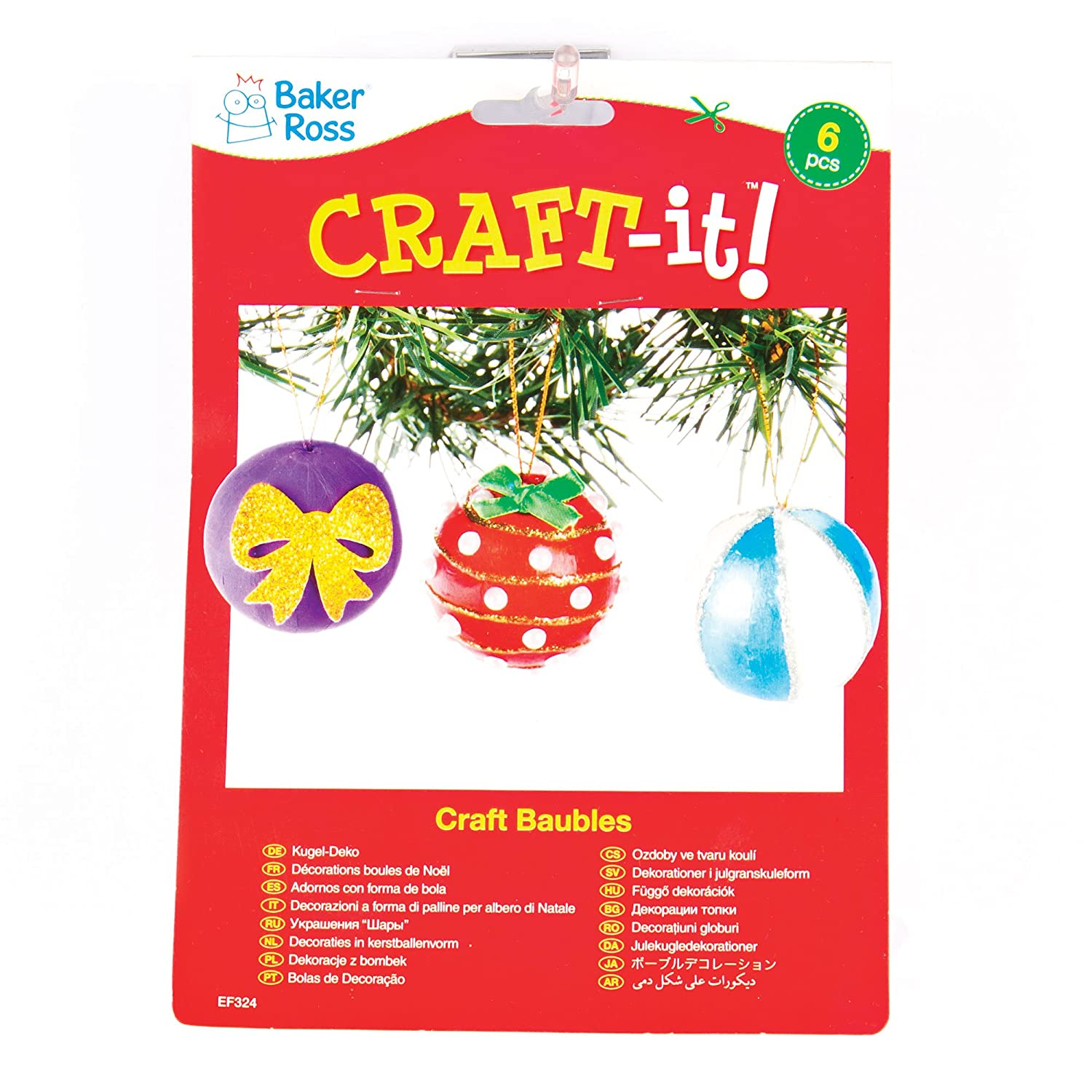 Strong Card Craft Baubles to Make and Decorate for Children Pack of