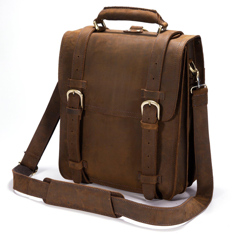 Kattee Genuine Leather 14'' Laptop Briefcase Backpack Messenger Bag Handbag