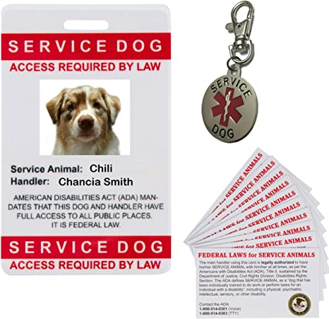 Therapy Dog ID Badge Service Dog ID Card ADA working Dog assistance pet tag 26