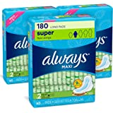 Always Maxi Feminine Pads with Wings for Women, Size 2, Long Super Absorbency, Unscented, 60 Count - Pack of 3 (180…