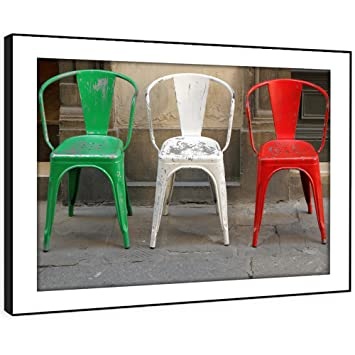 BFAB532e Gerahmtes Bild Druck Wandkunst   Italienische Flagge Stühle Foto  Moderne Abstrakte Landschaft Wohnzimmer Schlafzimmer Stück