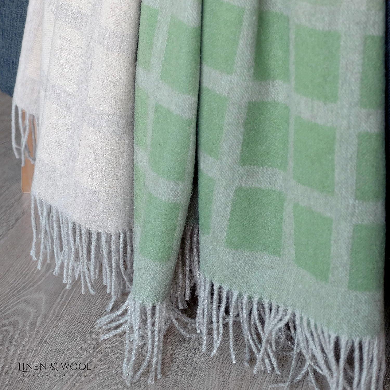 Couvre-Lit de Thea Linen /& Cotton Plaid Beige//Bleu 100/% Laine Merinos Couverture en Laine 140 x 200cm