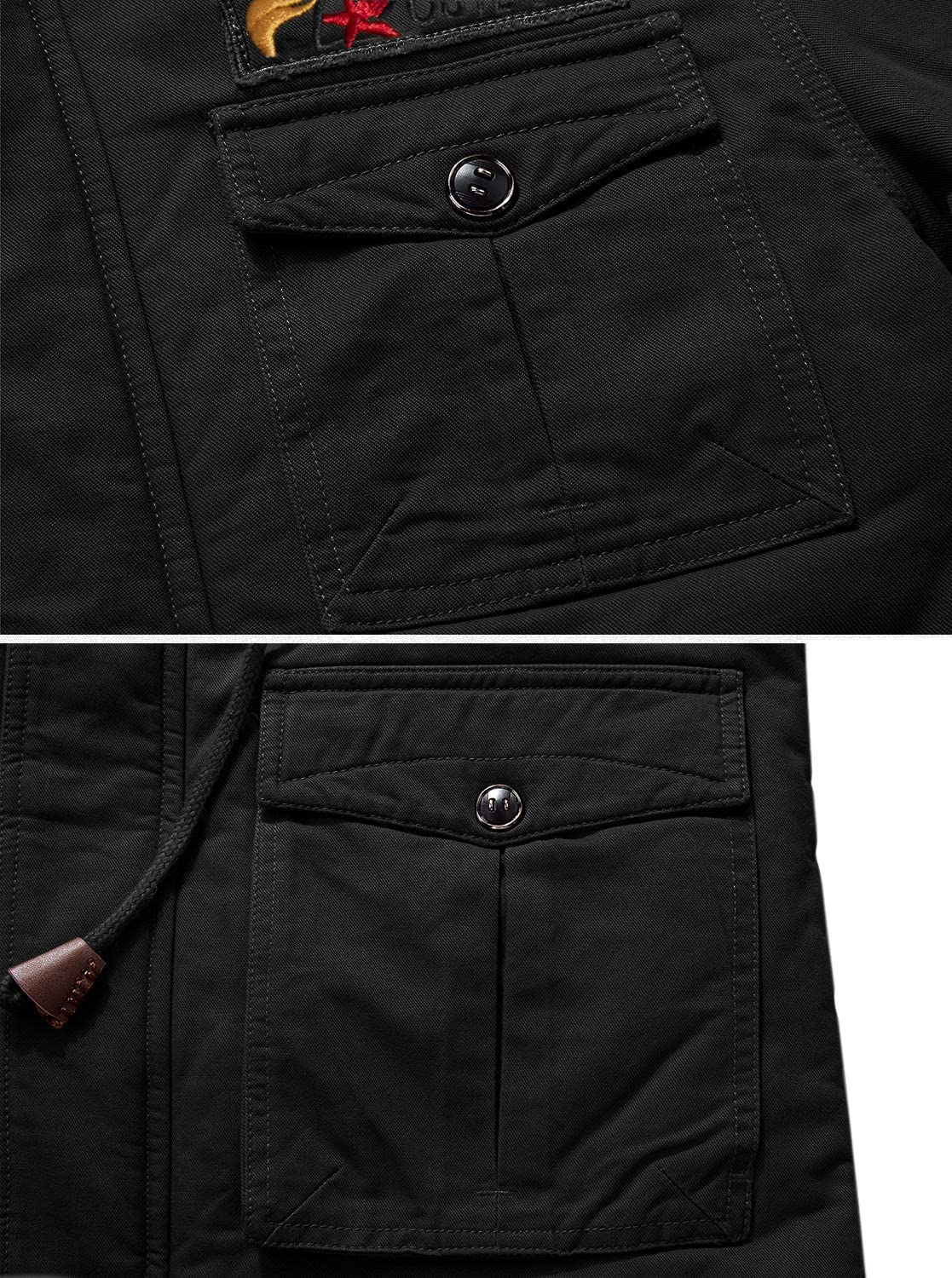TACVASEN Men's Winter Thick Fleece Lined Cargo Military Jackets Casual Cotton Hoodies with Multi Pockets Black