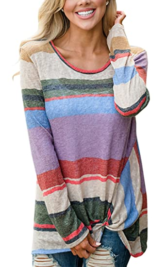 Angashion Womens Casual Long Sleeve Multi Color Striped Tunic Tops T Shirt