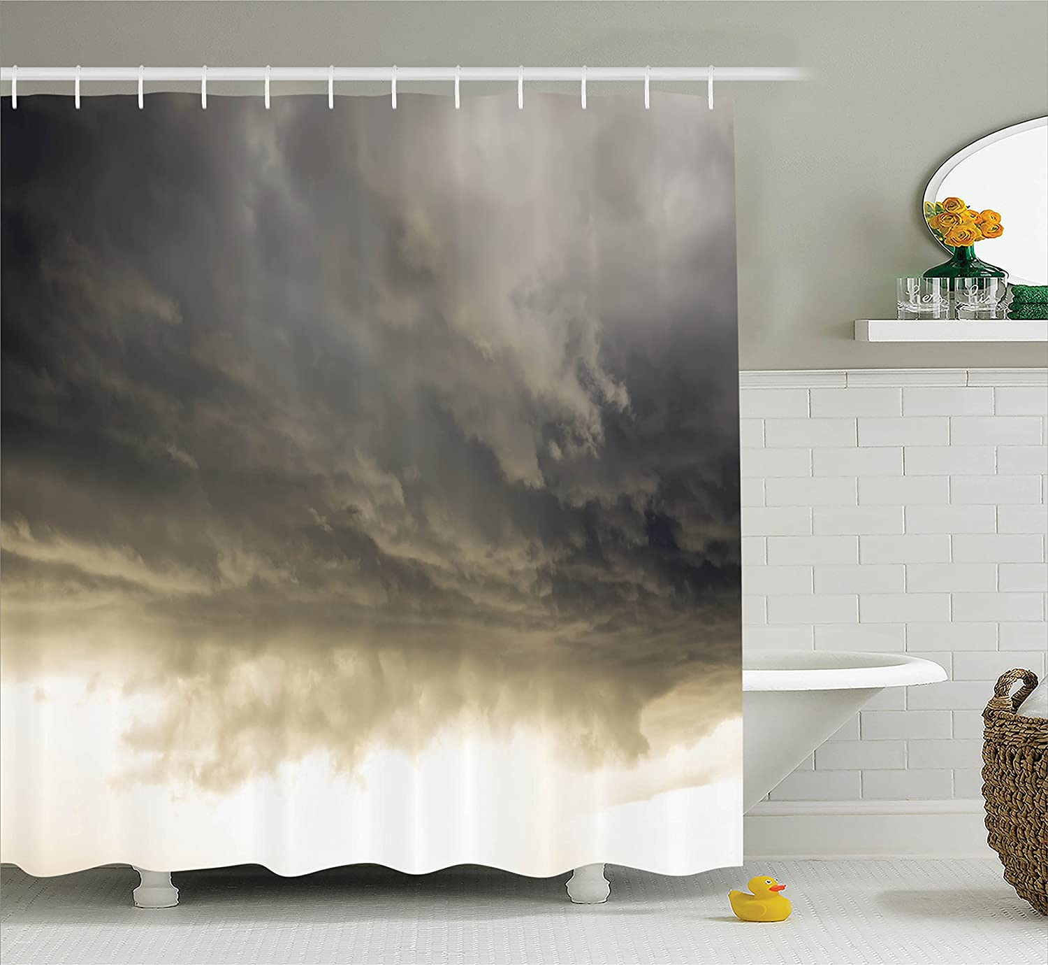 Oil Painting Style Artwork of Stormy Sea Splashing Waves Moon and Lighthouse 84 Inches Extra Long Ambesonne Lighthouse Shower Curtain Cloth Fabric Bathroom Decor Set with Hooks Ivory Blue