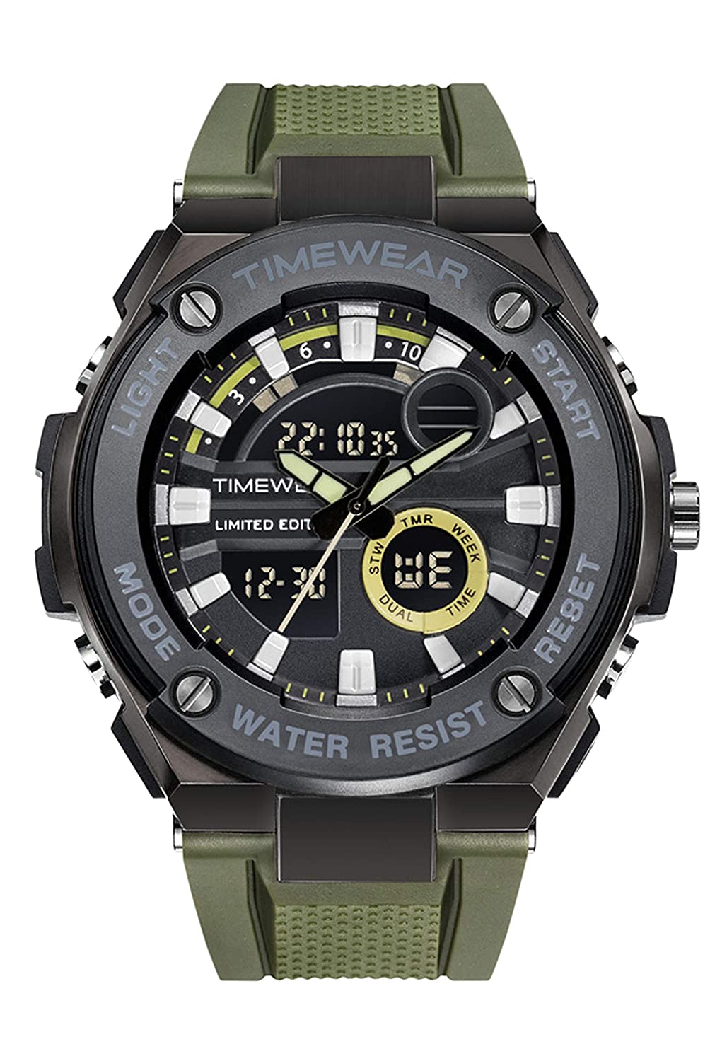 TIMEWEAR Limited Edition Analog Digital Army Green Strap
