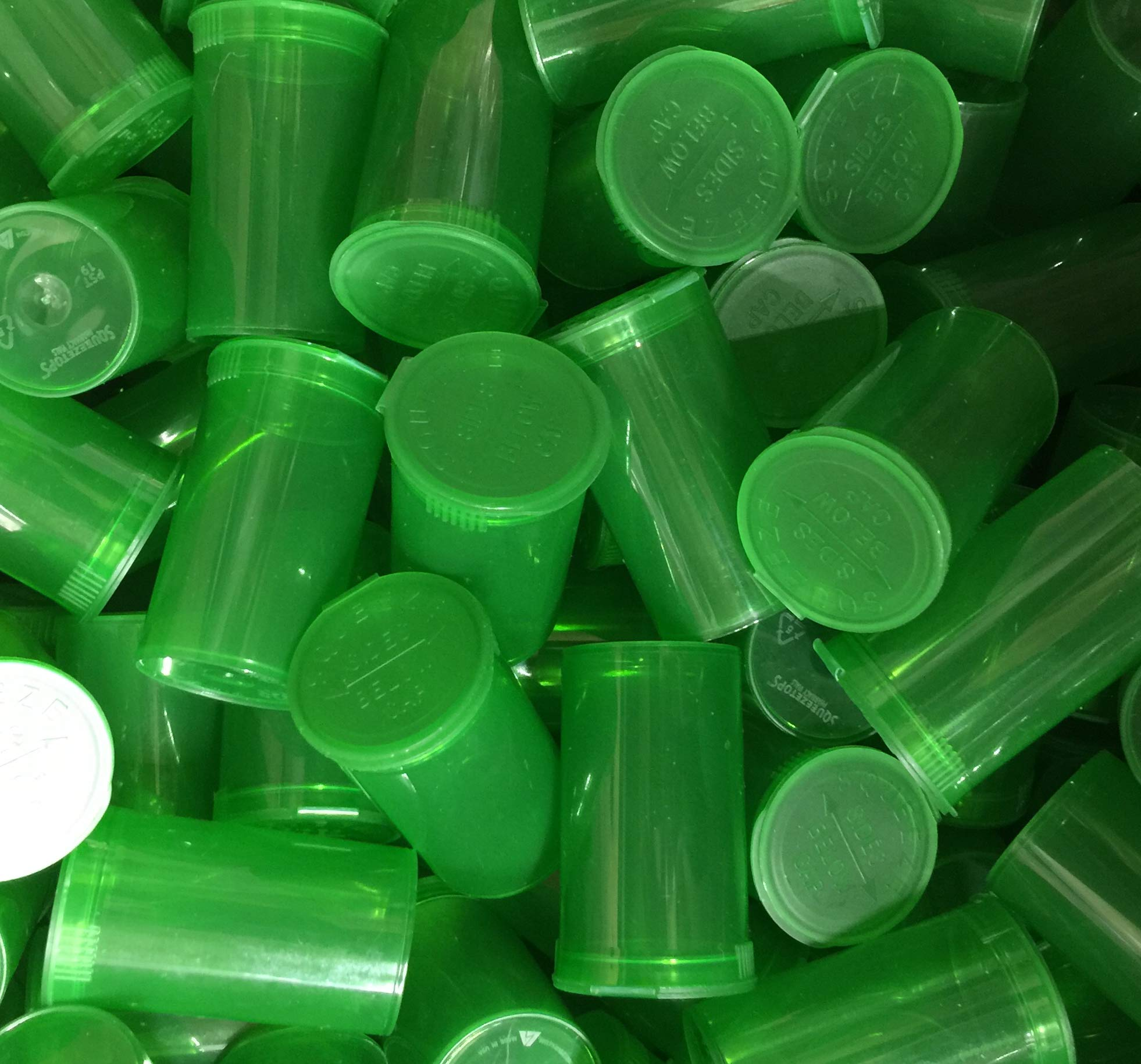 19 DRAM POP TOP Bottles Qty CASE Size Count Rx Pill Prescription Vials Crafts Coins Film Storage Medicine MMJ 420 CONTAINERS & Made in USA (100 PCS, Green - Transparent) by Squeezetops®