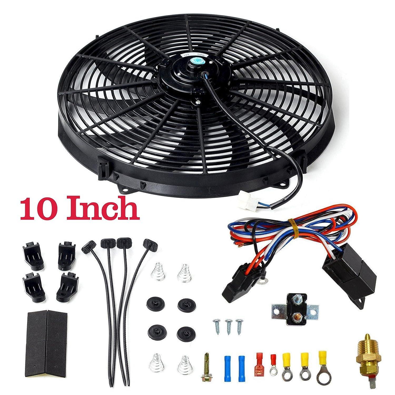 "BLACKHORSE-RACING 10"" Electric Radiator Fan High 3000 + CFM Thermostat Wiring Switch Relay Kit Black (10 inch)"